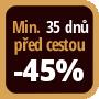 Při objednání minimálně 35 dnů před zahájením pobytu získáte slevu 45% z celé ceny ubytování.